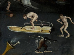Detalhe de quadro do Bosch com vários personagens meio nus esquiando no gelo e no canto Personagem d