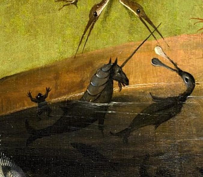 Fragmento de quadro do Hieronymus Bosch mostrando um personagem do tríptico Jardim das Delícias, um