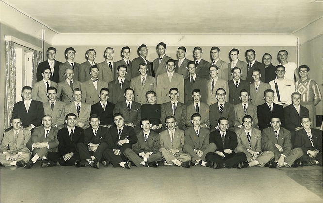 1952 house photo with roster and Val Jen