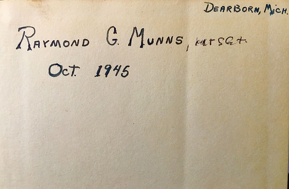 Inscription Raymond G. Munns 1945.jpg