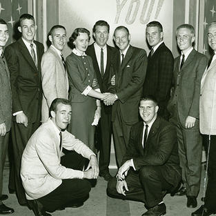 """The 1950's TV show """"It Could Be You"""" featured a re-creation of a Sigma Chi pinning, and Alpha Upsilon Sigs provided the undergrads"""