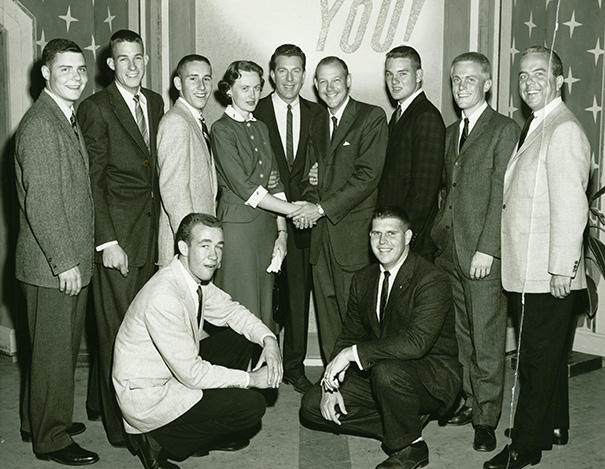 "The 1950's TV show ""It Could Be You"" featured a re-creation of a Sigma Chi pinning, and Alpha Upsilon Sigs provided the undergrads"