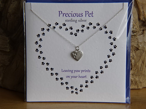 """PRECIOUS PET  CARD WITH SILVER PENDANT ON 18"""" CHAIN"""