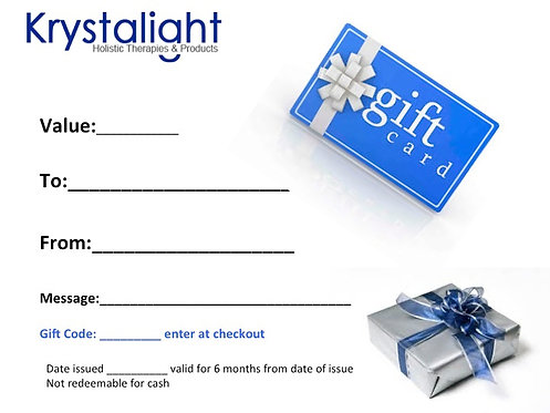 KRYSTALIGHT GIFT CARDS FROM £5 PLEASE SELECT FROM OPTIONS