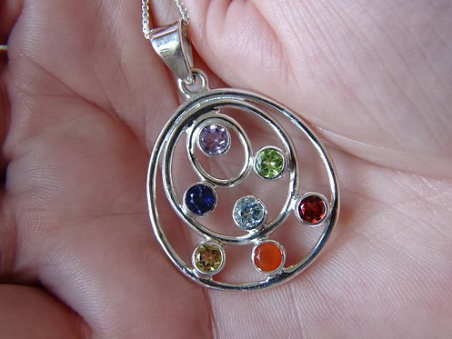 "7 CHAKRA PENDANT- SET IN STERLING SILVER ON 18"" STERLING SILVER CHAIN"
