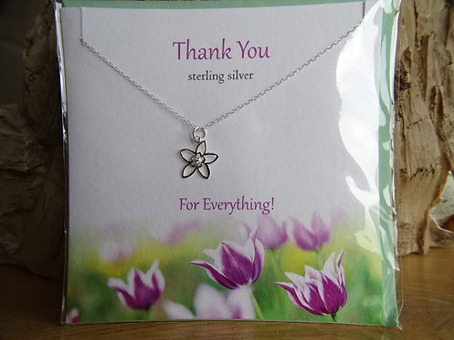 """THANK YOU CARD WITH SILVER PENDANT ON 18"""" CHAIN"""