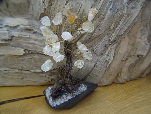 CITRINE GEM TREE ON AMETHYST BASE