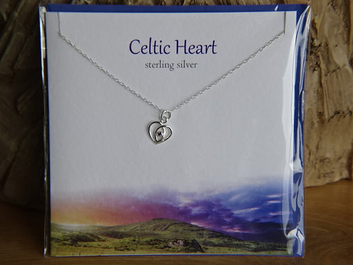 "CELTIC HEART CARD WITH SILVER PENDANT ON 18"" CHAIN"