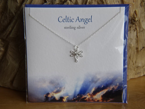 """CELTIC ANGEL CARD WITH SILVER PENDANT ON 18"""" CHAIN"""