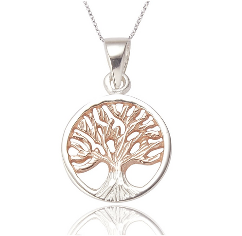 TREE OF LIFE PENDANT AND EARRING SET IN ROSE GOLD AND STERLING SILVER
