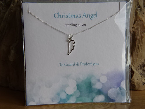 "CHRISTMAS ANGEL CARD WITH SILVER PENDANT ON 18"" CHAIN"
