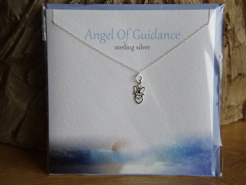 "ANGEL OF GUIDANCE CARD WITH SILVER PENDANT ON 18"" CHAIN"