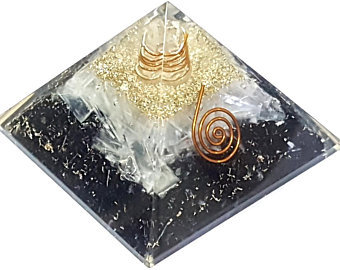 BLACK TOURMALINE AND SELENITE ORGONITE PYRAMID