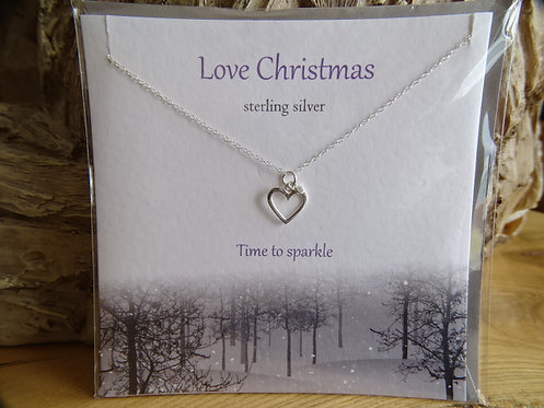 """LOVE CHRISTMAS CARD WITH SILVER PENDANT ON 18"""" CHAIN"""