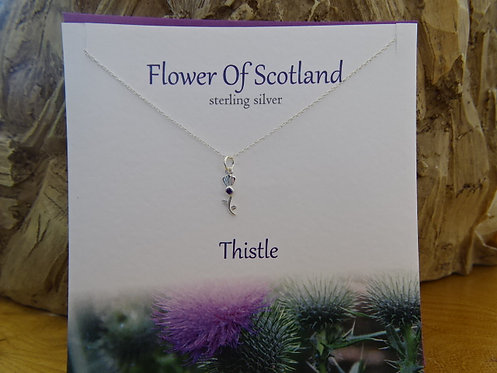 """FLOWER OF SCOTLAND CARD WITH SILVER PENDANT ON 18"""" CHAIN"""