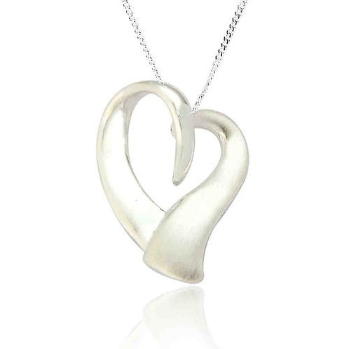 STUNNING STERLING SILVER ORGANIC HEART PENDANT AND EARRING SET