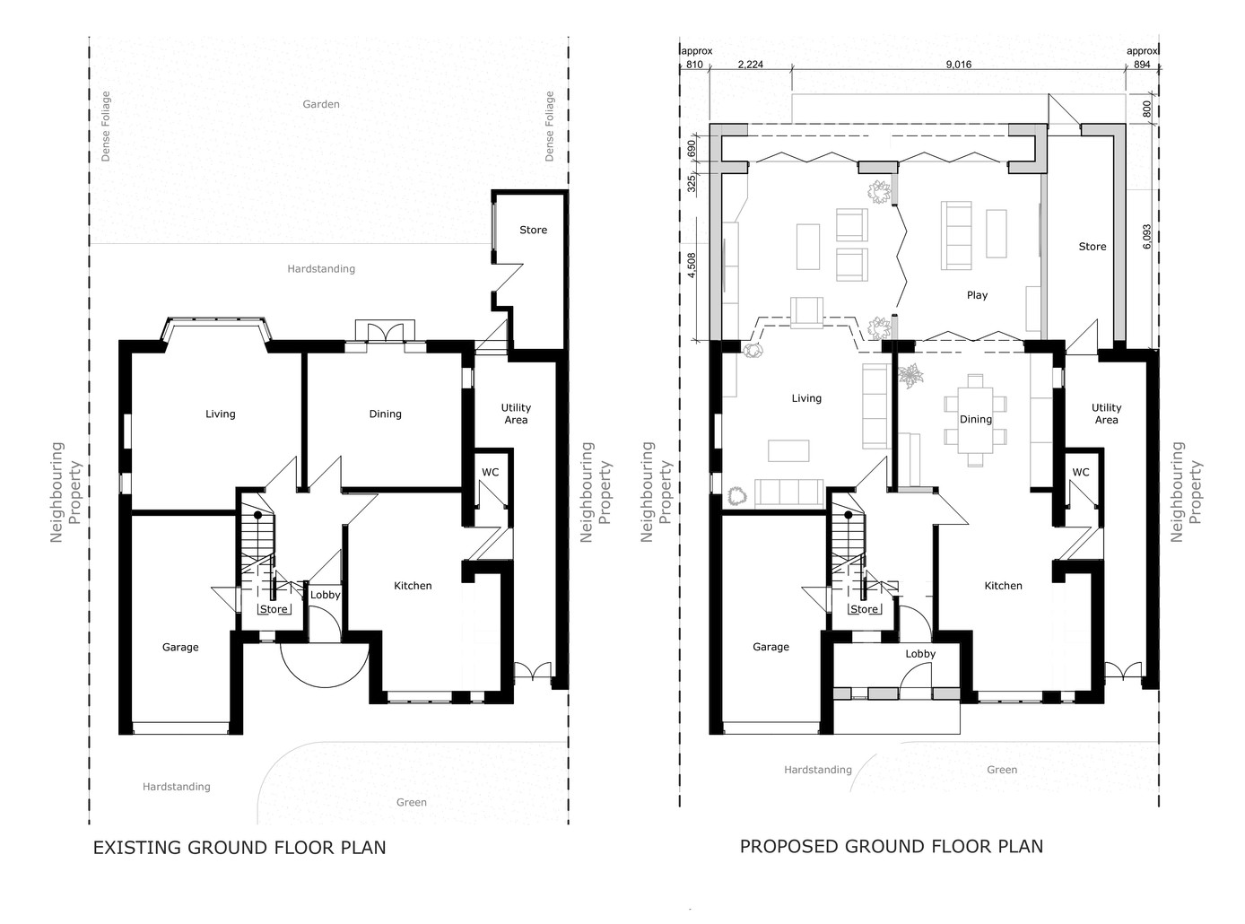 Existing and Proposed Ground Floor Layout