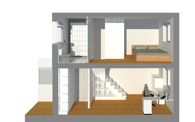 3D section showing how the new stair would impact the space on both floors