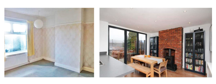 Dining space before and after