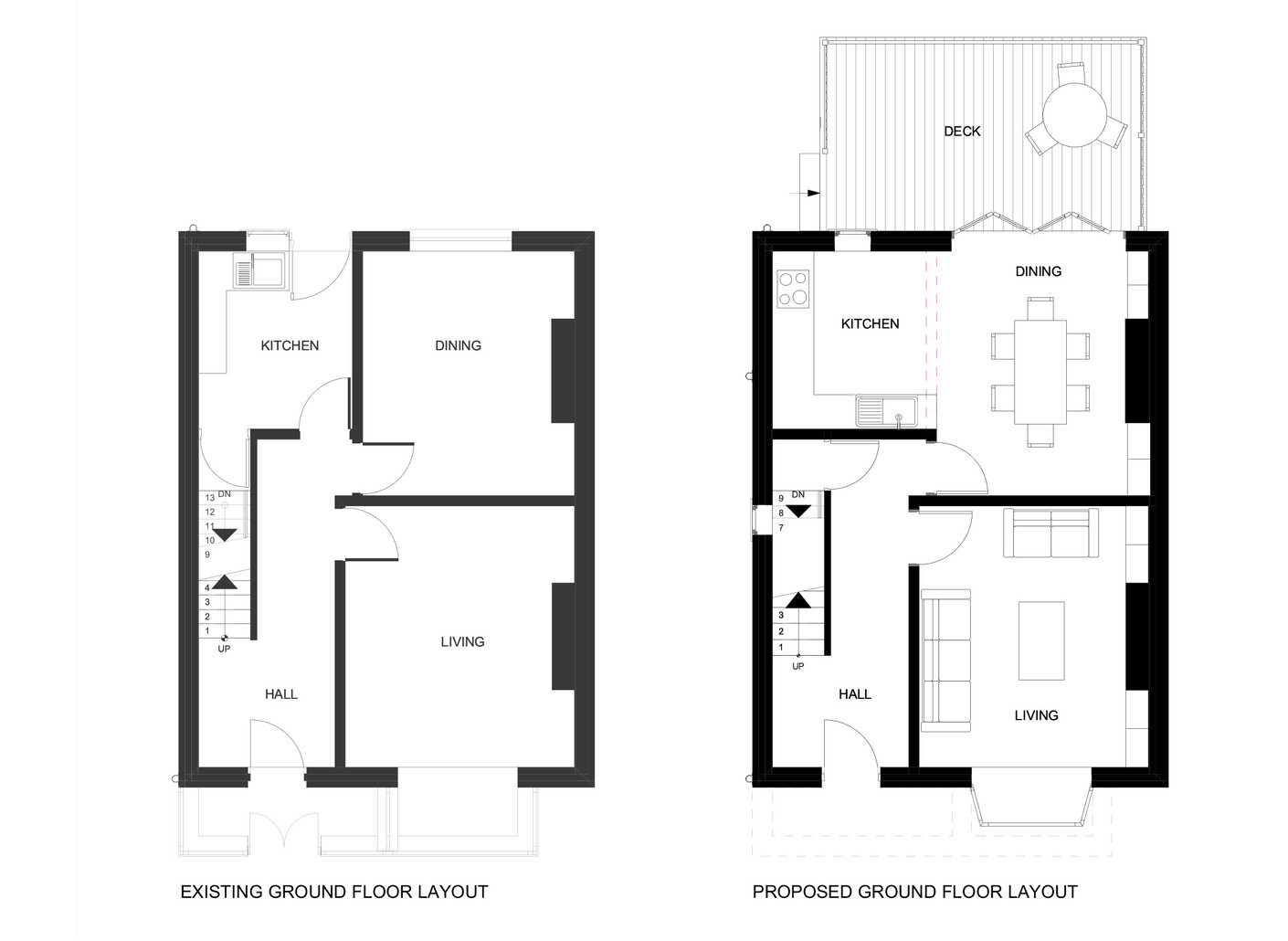 Existing and Proposed Ground Floor