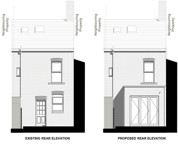 Existing and Proposed Rear Elevation