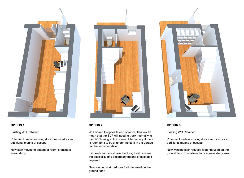 Ground floor plan options describing pros and cons