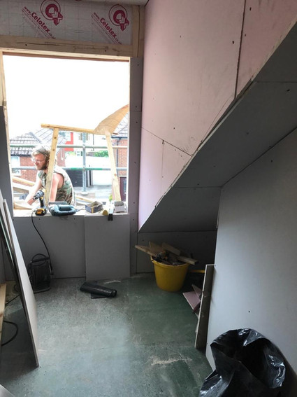 Insulation and plasterboard installed