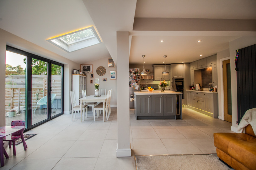 The rooflights help light up the space