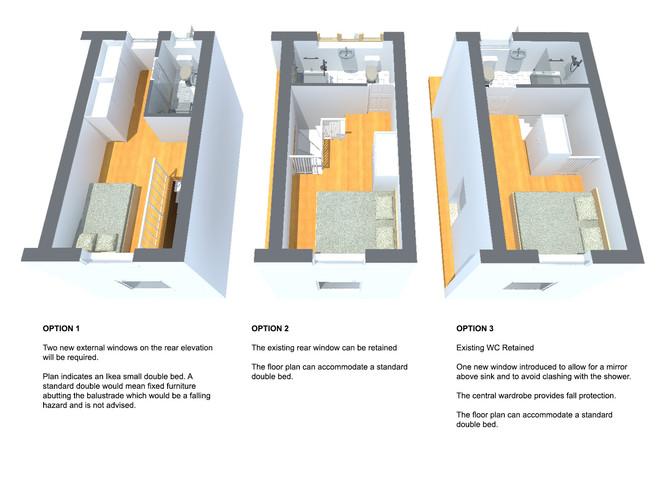 First floor plan options describing pros and cons