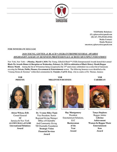 YGB Press Release - Jamaican Business Pr