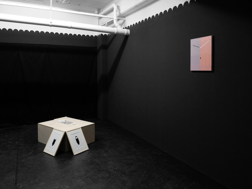 Installation view Right: Twice a week_2018_acrylic on canvas_45.5 x 37 cm Left:  A pool_ 2018 _wood, passepartout paper 1 mm_ 36.5 x 90 x 70 cm Two lithographs of Erwin Heerich from the offset lithofraph series called 4 x 4 1978 Arslanov/Heerich Solo exhibition_ 2018 Cabinet Printeps_ Dusseldorf_ Germany