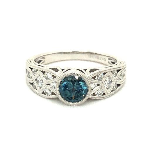 White Gold Montana Sapphire Art Deco Ring