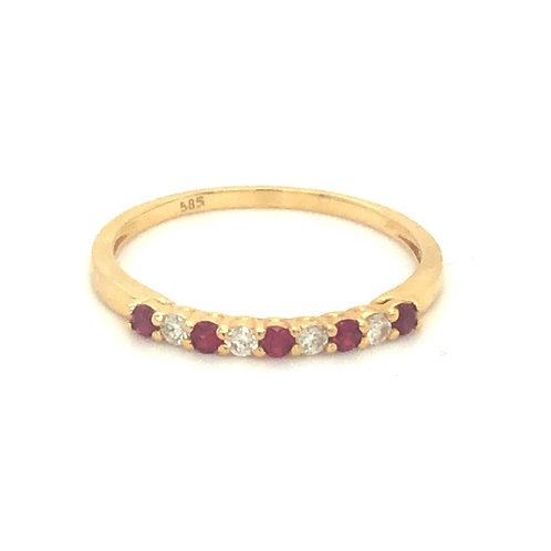 Ruby Diamond Shared Prong Ring