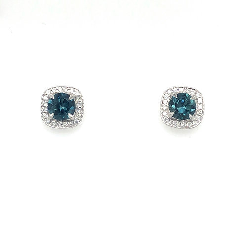Montana Sapphire and Diamond Halo Earrings in White Gold
