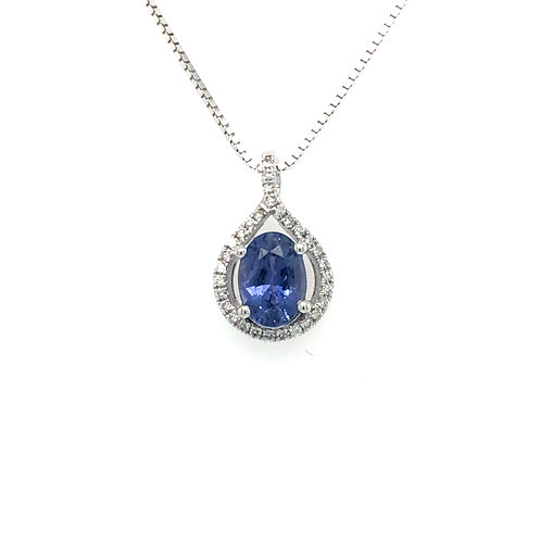 Purple Sapphire and Diamond Necklace