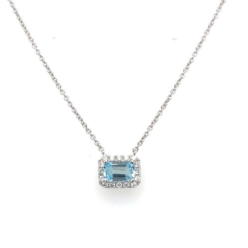 Emerald Cut Aquamarine Necklace