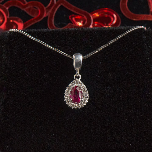 Pear Shaped Ruby Diamond Pendant