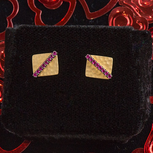 Hammered Square Ruby Earrings