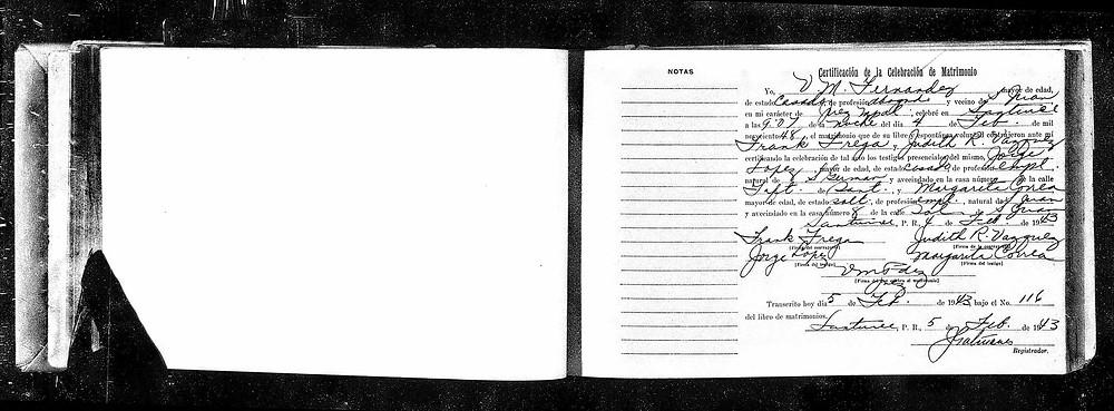 Certificado de matrimonio de Judith Vázquez Casellas y Frank Frega
