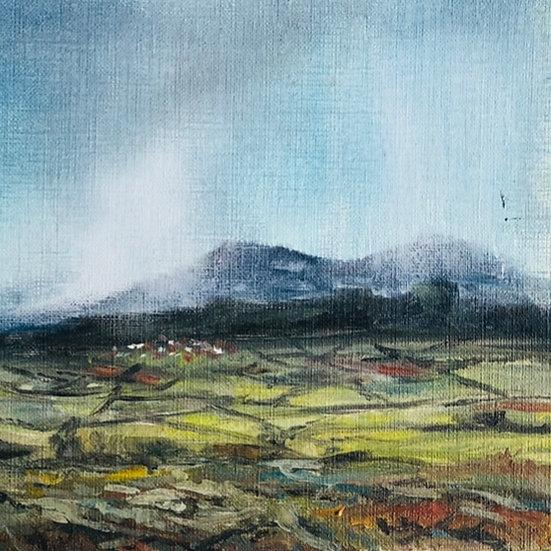 Malvern Rains 2 - original framed mini oil painting