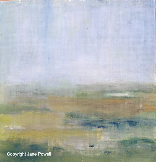 'Misty Malvern View 2 - Soft Light' Oil 6x6in