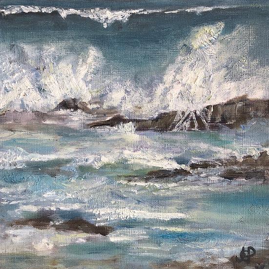 Framed Print - Crashing Waves at Trevone