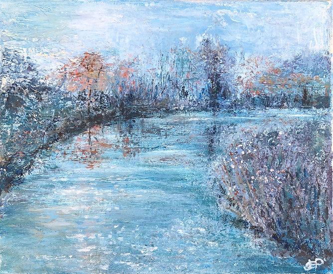Winter Reflection Acrylic Painting
