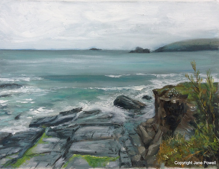 'Coastal Walk from Trevone' Oil on paper 14.5x11.5in