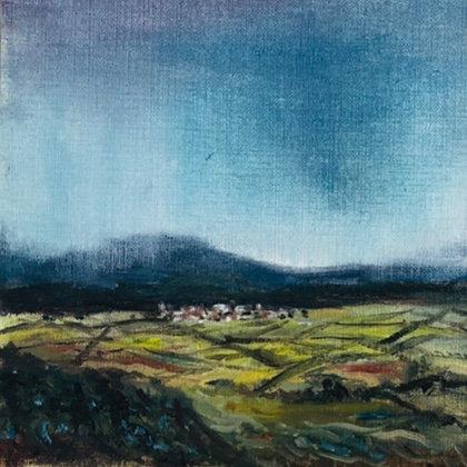 Malvern Rains 1 - original framed mini oil painting