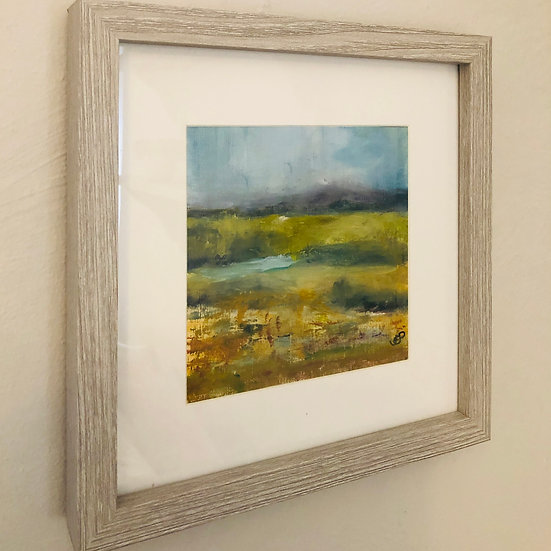 'Misty Malverns 1 - Here Comes the Sun' Oil 6x6in