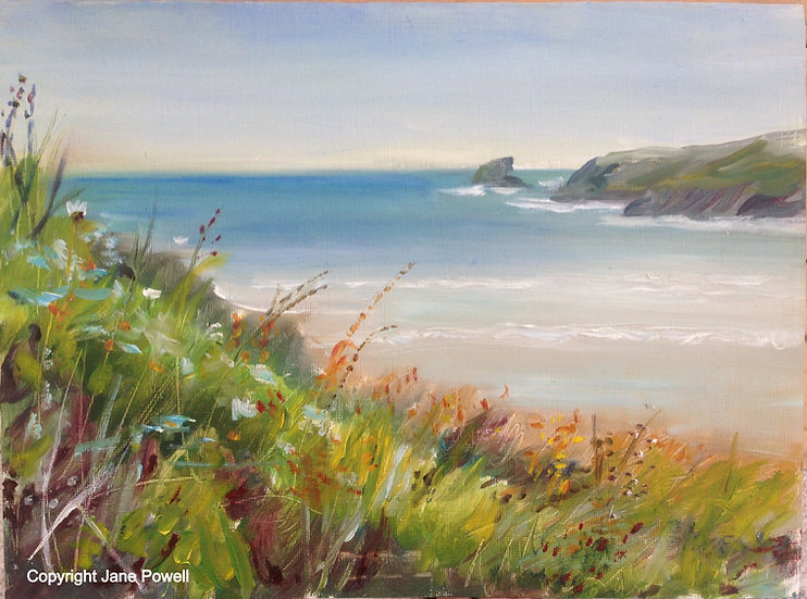 ** SOLD ** 'Porthcothan View' Oil on paper 12x8in