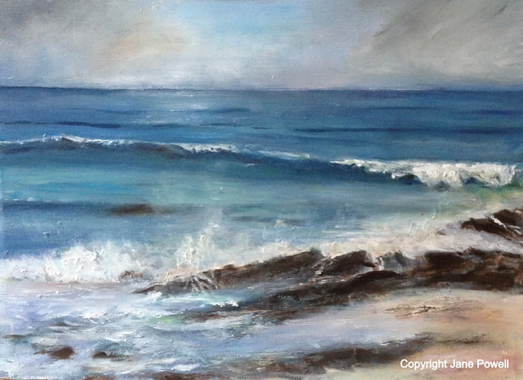'Coastal Walk from Trevone 2' Oil Painting
