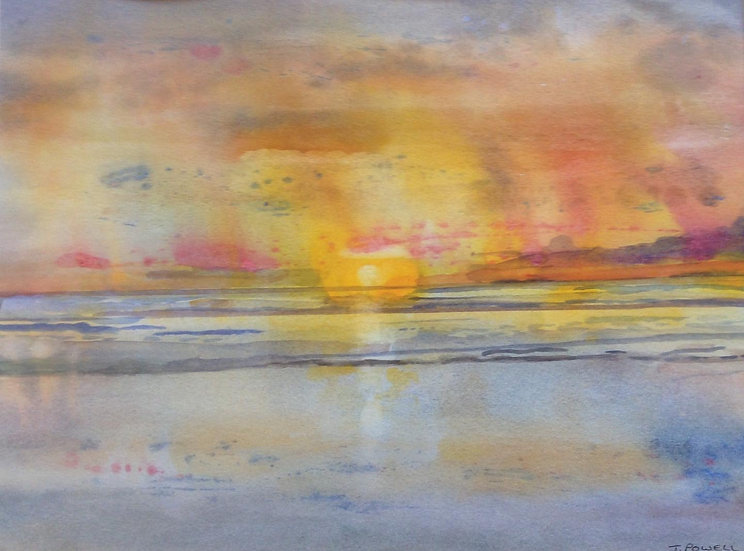 ** SOLD ** 'Sunset at Newgale Beach' Watercolour, 12x9in