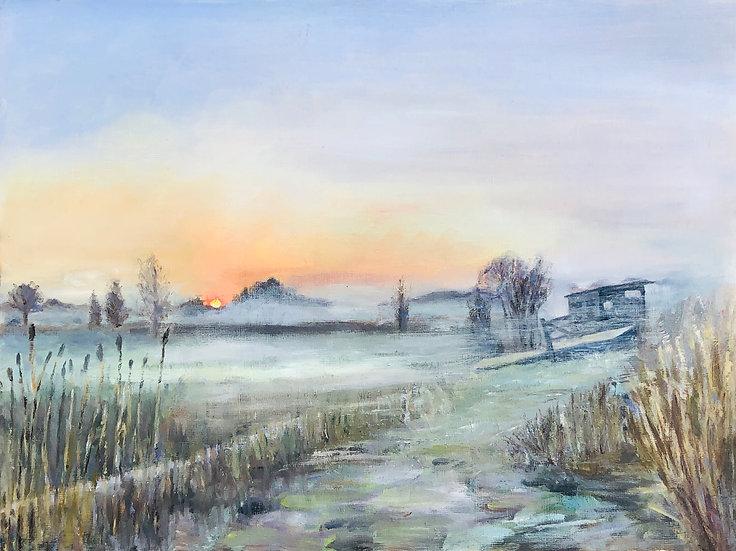 Pershore Wetlands at Dawn - Original Oil Painting